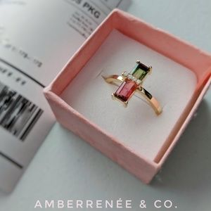 14k Watermelon Tourmaline Elongated Emerald Cut